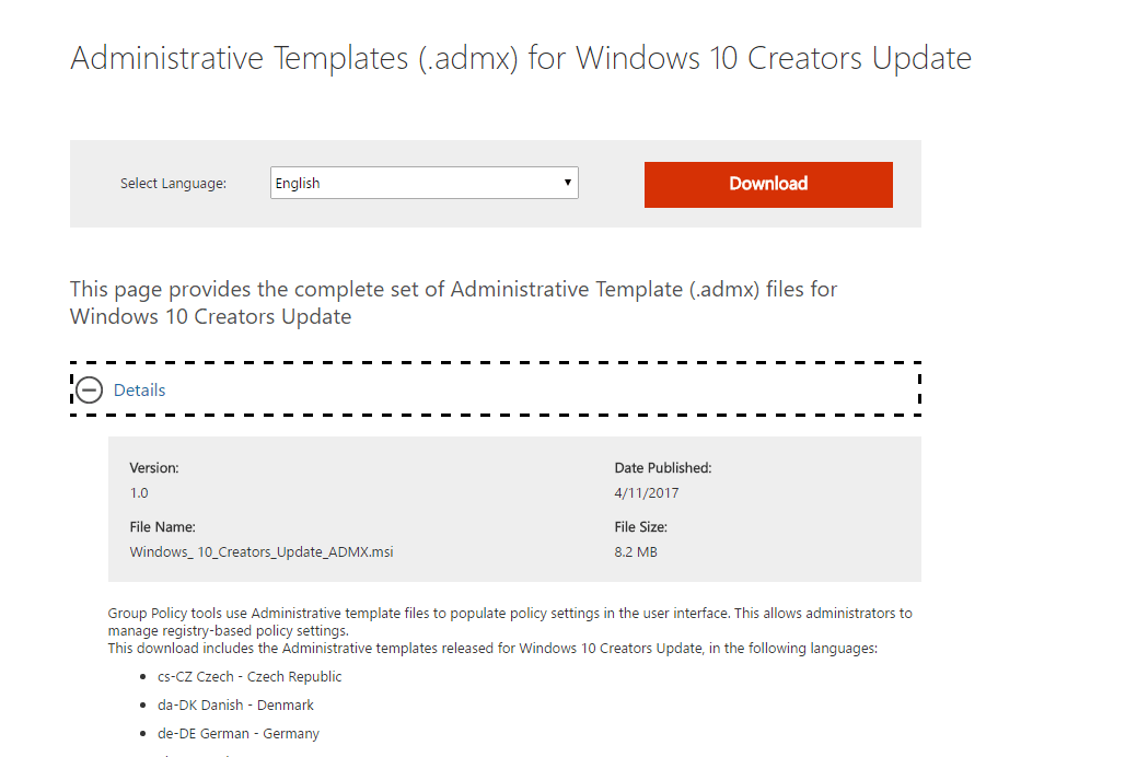 Install Windows 10 Version 1703 Administrative Templates - Microsoft ...