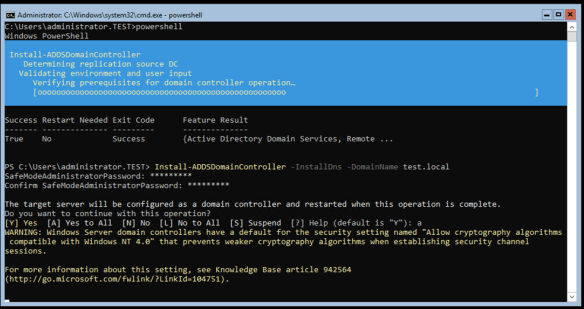 Promote Windows Server Core 2016 To Be a Domain Controller Using