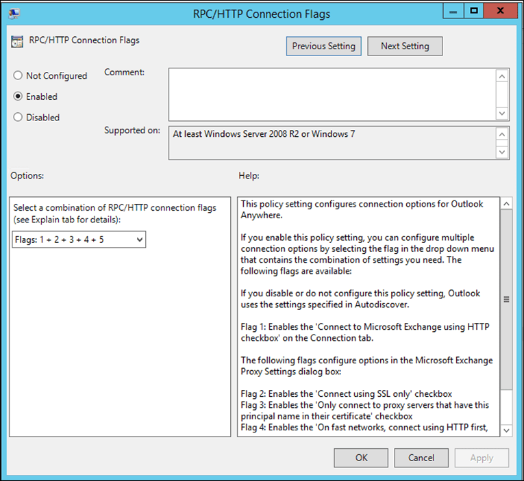 Configure Outlook Anywhere For Outlook 2016 Using Group Policy