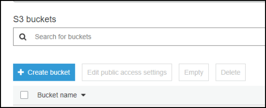 S3 buckets  Q Search tor buckets  + Create bucket  Bucket name  Edit public access settings  Empty  Delete