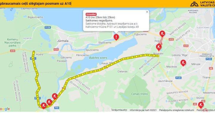 Negadījuma dēļ slēgta satiksme Rīga-Ventspils 25. kilometrā /VIDEO/Papildināts!!!