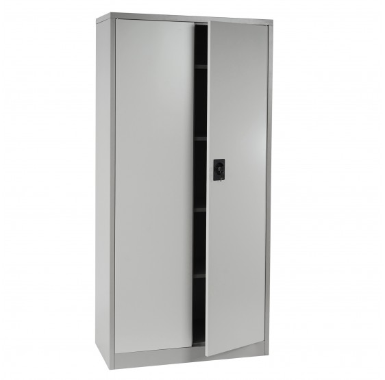 cabinet boston t130 meuble de bureau armoire metallique 2 portes 180x85x40cm creme