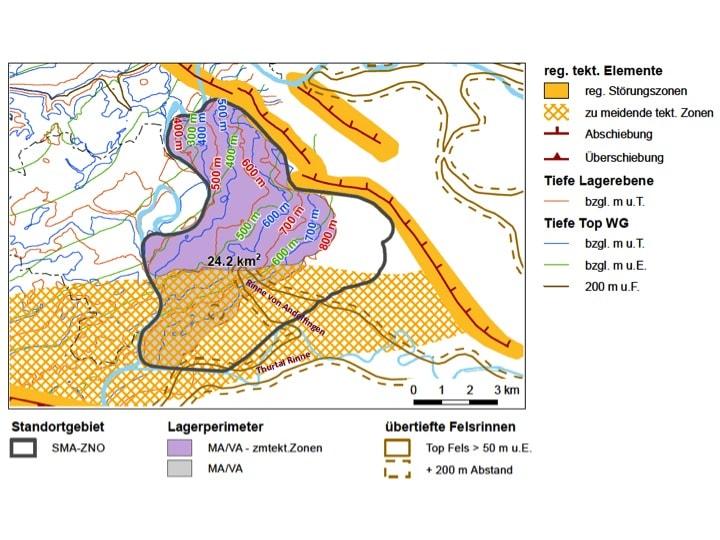 Tiefenlage des heutigen Wirtgesteins und der Lagerebene unter dem Weinland