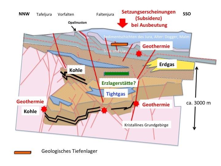 Abbildung 2: Schematischer Schnitt durch den Permokarbontrog, etwa im Querschnitt zwischen Aarau und Brugg, konstruiert nach seismischen Aufnahmen und auf der Basis der Tiefbohrungen von Riniken und Weiach  (nach Diebold et al. 1991, modifiziert), sowie schematische Darstellung der möglichen Rohstoffvorkommen. Für eine neuere Interpretation siehe Naef & Madritsch (2014)