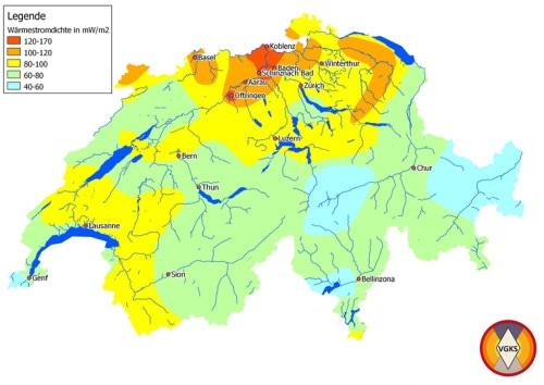 Wärmefluss (oder Wärmestromdichte) in der Schweiz (www.vgks.ch , verändert nach Medici & Rybach 1995, )