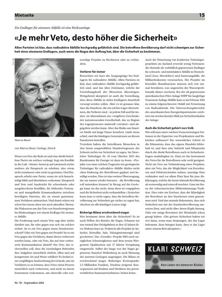 Beitrag von Marcos Buser zur Veto-Frage (Zeitschrift Klar Schweiz)