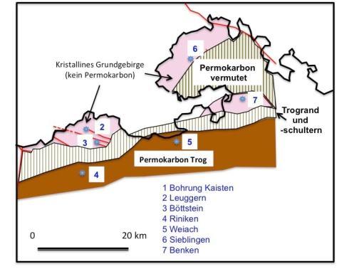 Figur 3: Verlauf des Permokarbon-Troges in der Nordostschweiz und Lokalisierung der Tiefbohrungen der Nagra.