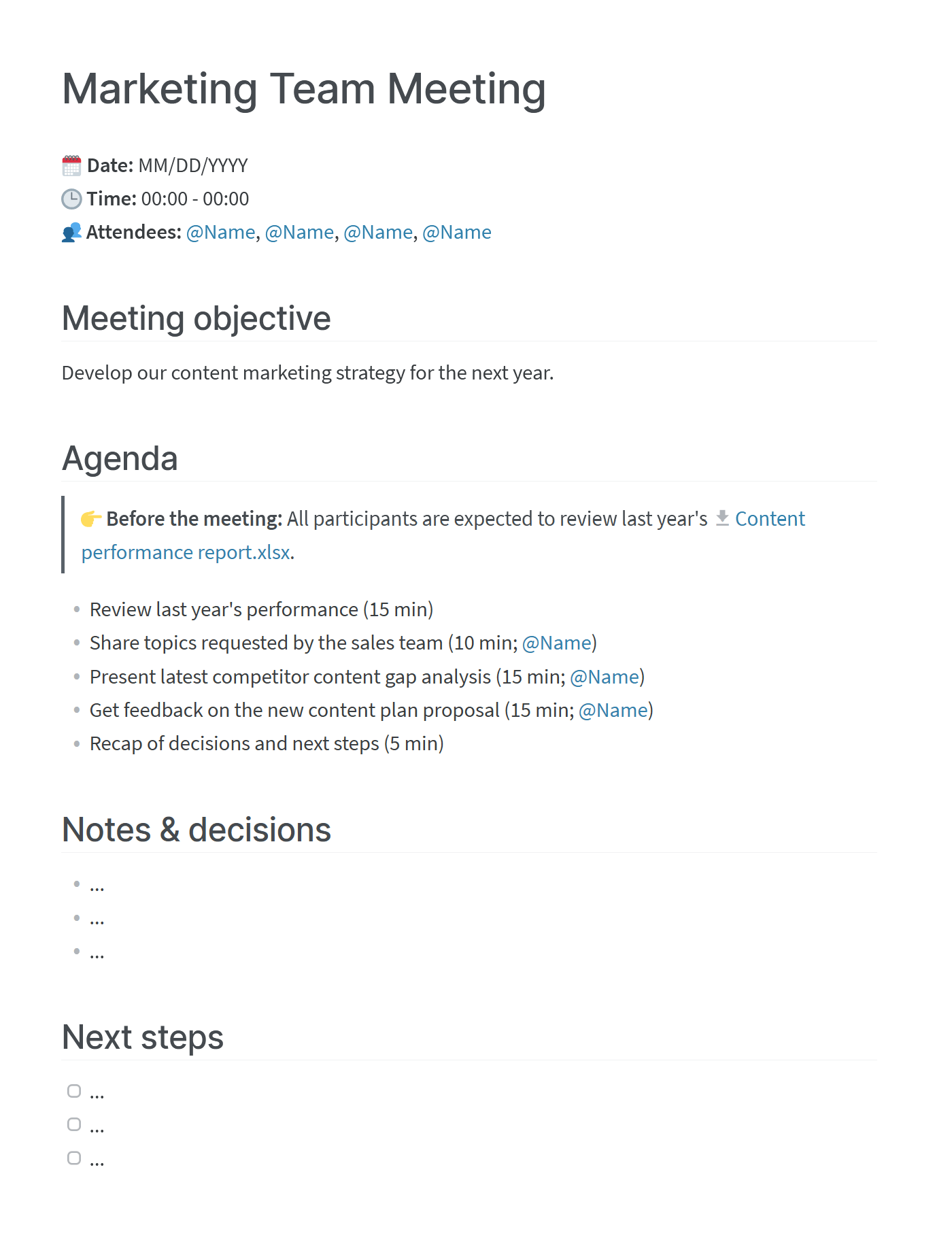 Meeting agenda templates to copy or download (google doc or word doc) — plus examples of how to use them. How To Write A Meeting Agenda Templates Examples