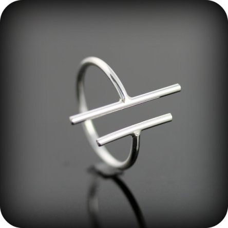 Montreal Etsy Cubicule Two Bars Silver Ring 925