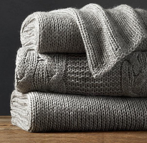 Grey Alpaca Knitted Throws