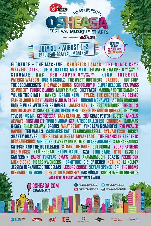 Osheaga 2015 Montreal Music Festival Bright Colourful