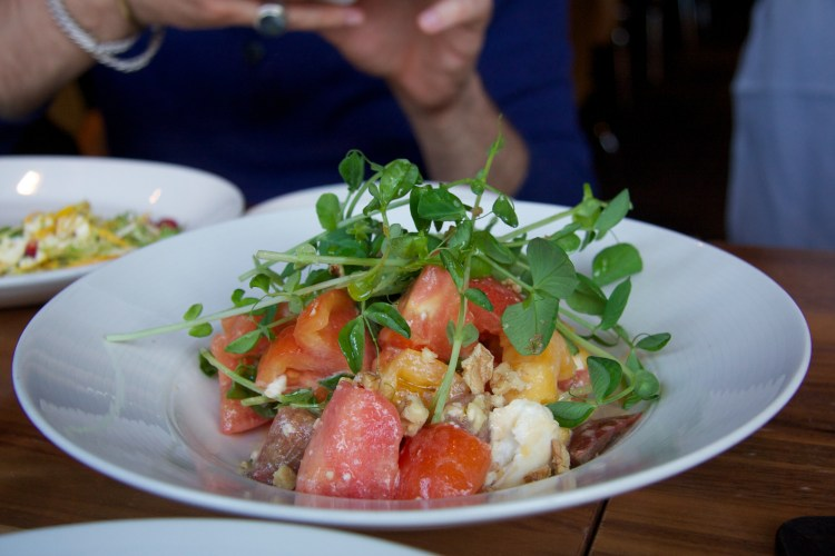 Heirloom Tomato Salad with Spring Pea Shoots, Walnuts and Cheese