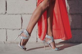 Thesis L.A Los Angeles Heels Woman Footwear Stiletto Red Dress Silver