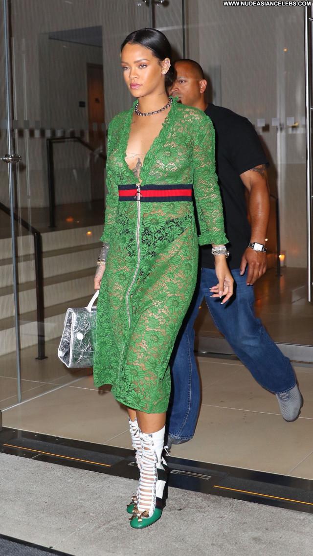 Rihanna Braless Fashion Celebrity Posing Hot American Singer Babe See