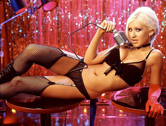 popstar christina aguilera in fishnets