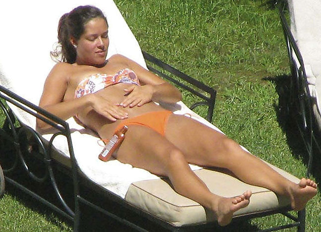 serbian tennis star ana ivanovic sunbathing