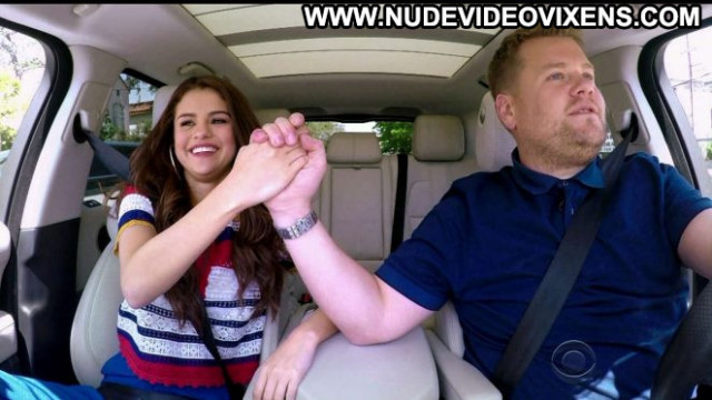 Selena Gomez The Late Late Show Celebrity Babe Car Posing Hot