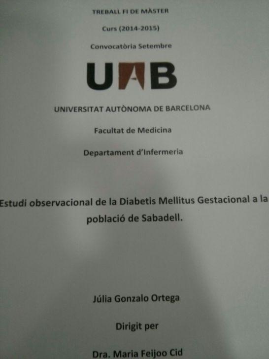 Estudio observacional de la diabetes mellitus Gestacional en la población de Sabadell