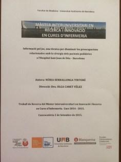 Información para el Juego, una técnica para disminuir las preocupaciones relacionadas con la cirugía de los pacientes pediátricos en el hospital de San Juan de Dios, Barcelona