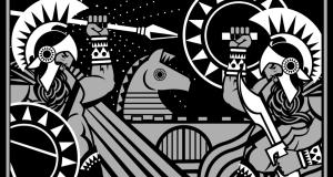 Escena de la guerra de Troya