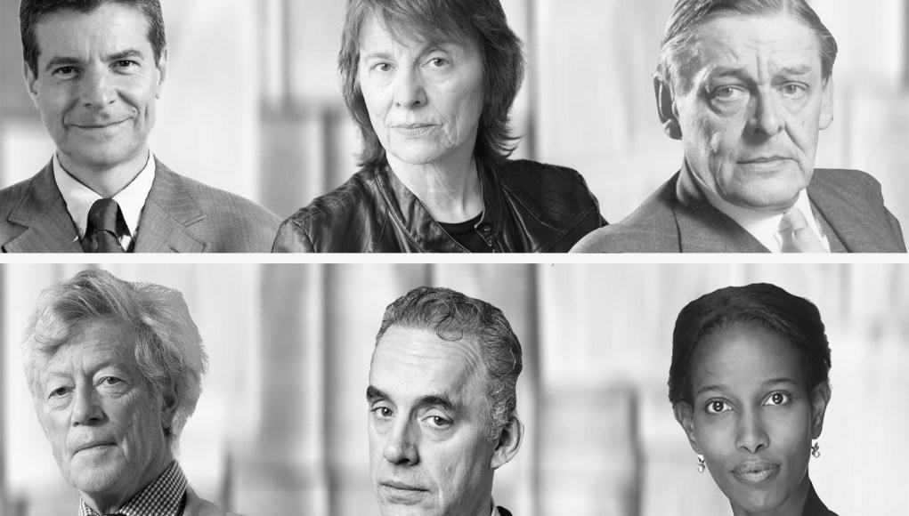 Arriba: Compagnon, Paglia, TS. Eliot. Abajo: Scruton, Peterson, Hirsi.