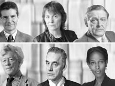 Arriba: Compagnon, Piglia, TS. Eliot. Abajo: Scruton, Peterson, Hirsi.
