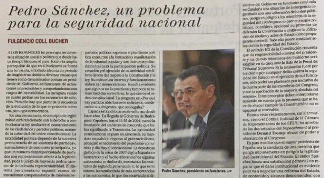 articulo de Coll sobre Sánchez