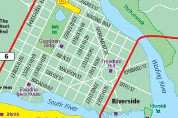 A street map of the city of Freedom City.