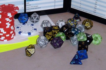 A stack of red poker chips and a pool of dice appear against the background of a Star Wars GM screen.