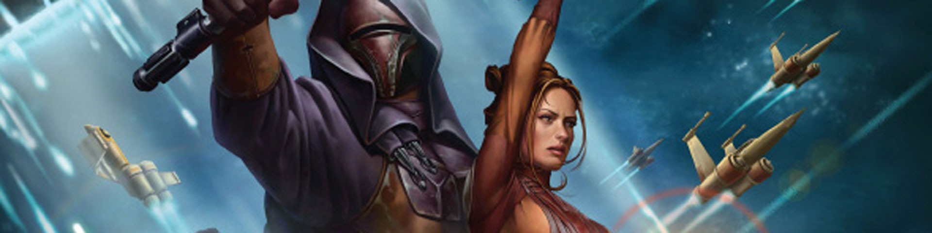 An armored Sith lord and a woman in brown clothing hold lightsabers aloft.
