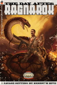 A soldier -- gun in one hand, knife in the other -- battles a giant snake.