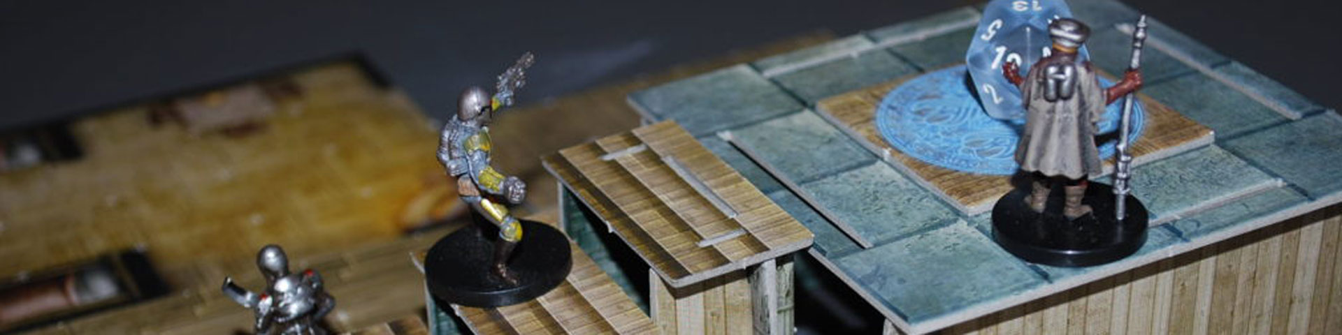 Star Wars miniatures make their way up a tile-based staircase.