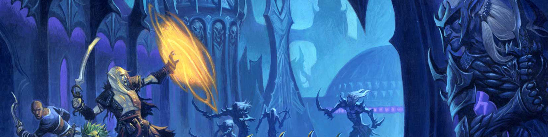 Heroes confront dark elves in a lost elven city.