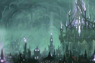 A massive underground city -- its towers illuminated purple -- fills a blue-green cavern.