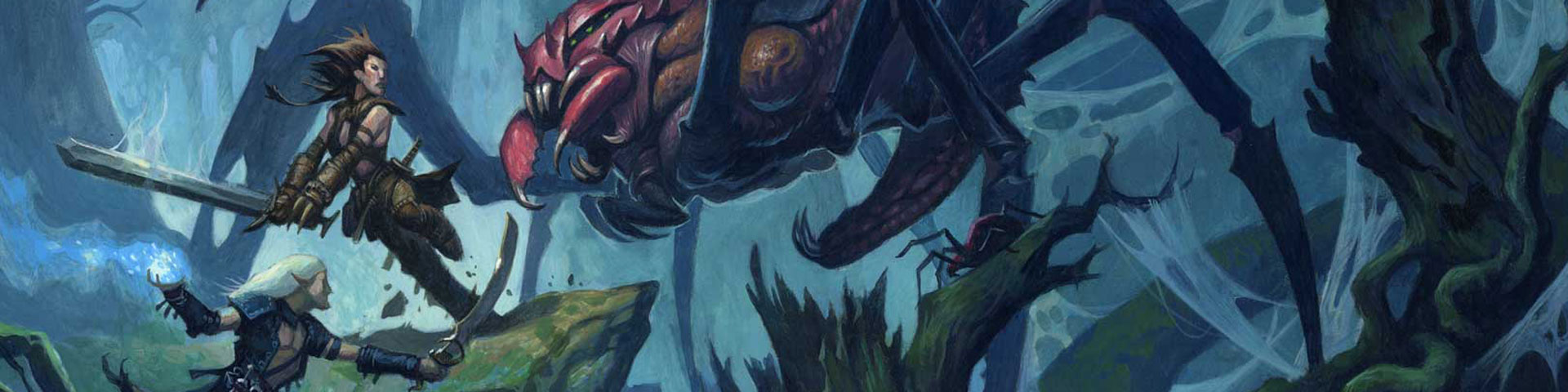 Two adventurers battle a giant spider in an underground cave.