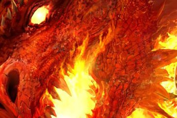 A red dragon prepares to breath fire.