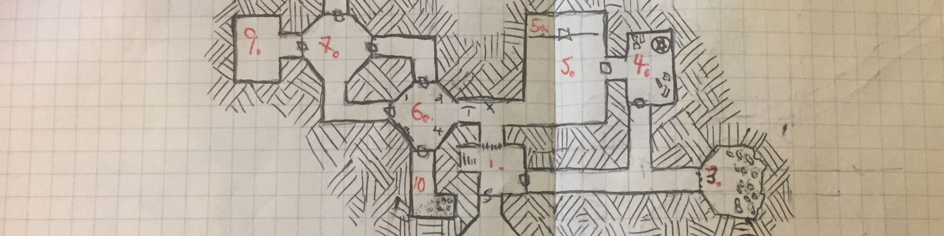 A small conventional graph paper dungeon featuring blocks, hexagons, and connecting passages.