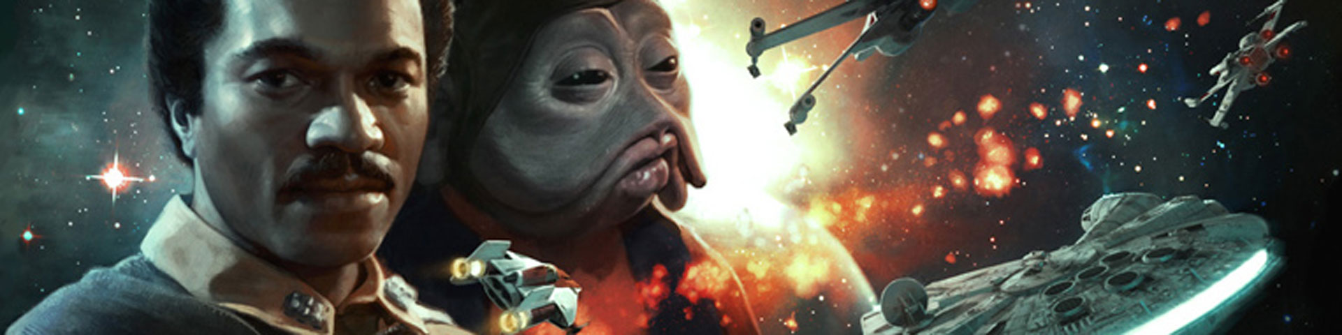 Lando Calrissian and his alien co-pilot Nien Nunb are profiled in the left side of this image. To the right the Millennium Falcon and a flight of starfighters soar past.