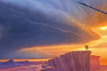 Two warriors face off on a vast plateau. In the background there is a vast skyscape, the left side filled with a storm cloud, the right with a sunset.