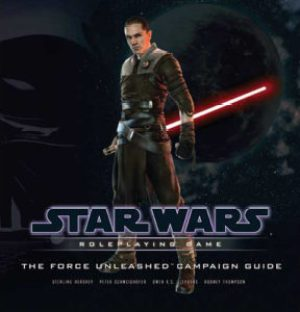 Starkiller stands against a black background, red lightsaber held hilt-first, the blade extending behind him.