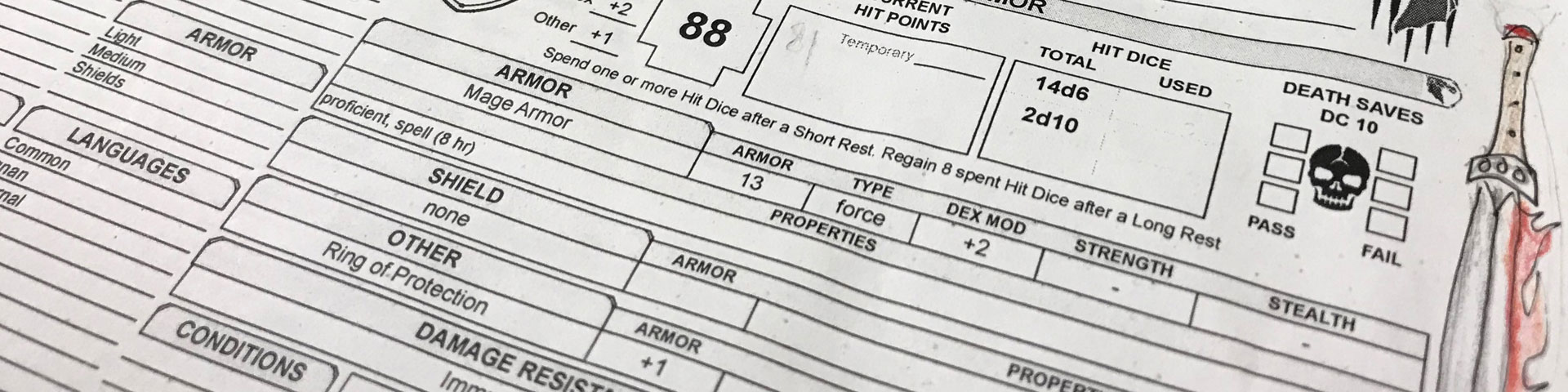 A close-up of a Dungeons & Dragons character sheet. A doodle of a sword, wreathed in flame, appears to the right.