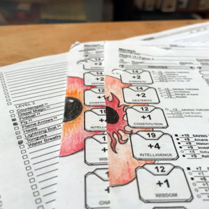 Two red-orange eyeballs peer out from a D&D character sheet.