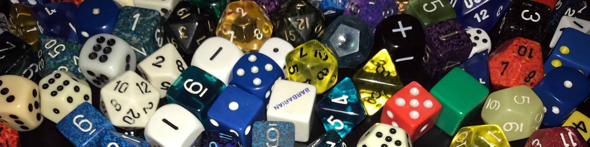 A variety of different kinds of polyhedral dice.