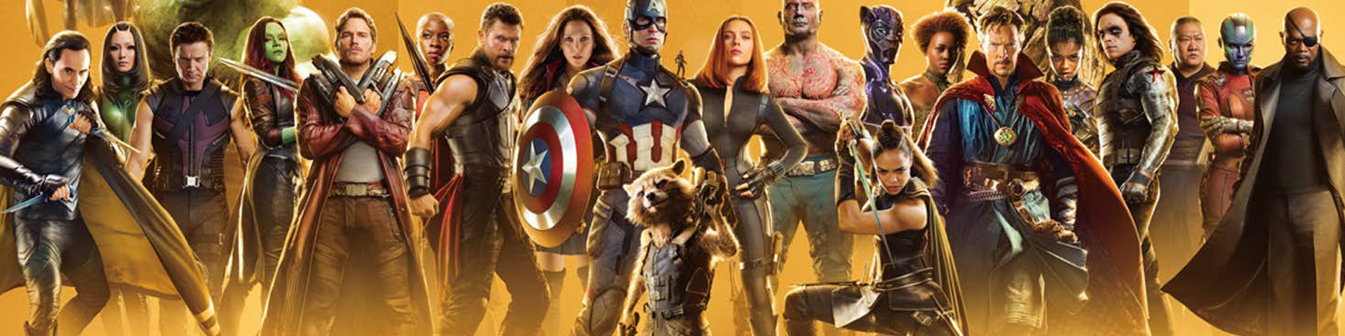 A line up of almost all of Marvel's superheroes.