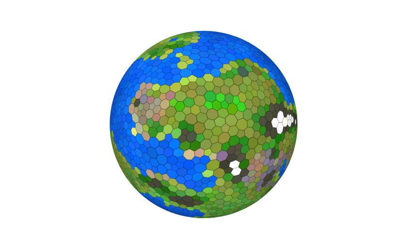A hex-based world. Green and brown hexes are land; blue hexes are water.