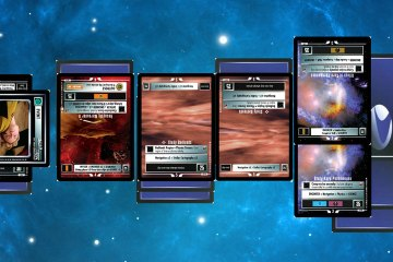 Star Trek game cards laid out on a blue/black starscape.