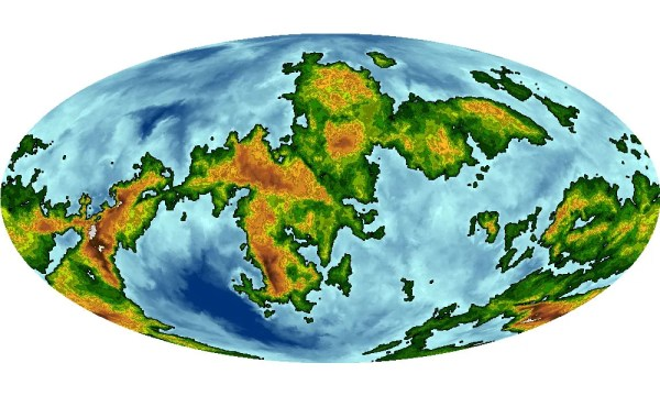 An oval shaped map of a planet. Land masses are green, orange, and red, oceans are light to dark blue.