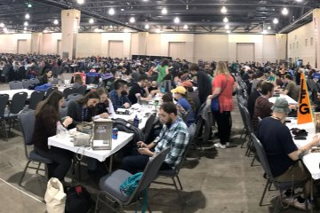 A view of the PAX Unplugged's open gaming area.