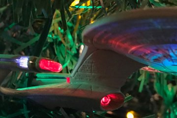 A side-view of the starship Enterprise 1701-D