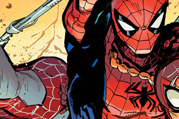 Three people in spider uniforms swing toward the viewer.
